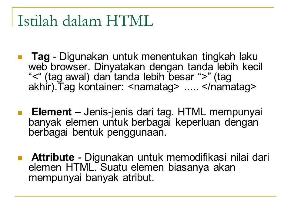Istilah dalam HTML Tag - Digunakan untuk menentukan tingkah laku web browser.