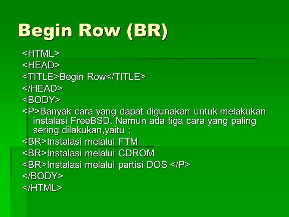 Begin Row (BR) <HTML><HEAD> Begin Row Begin Row </HEAD><BODY> Banyak cara yang dapat digunakan untuk melakukan instalasi FreeBSD. Namun ada tiga cara