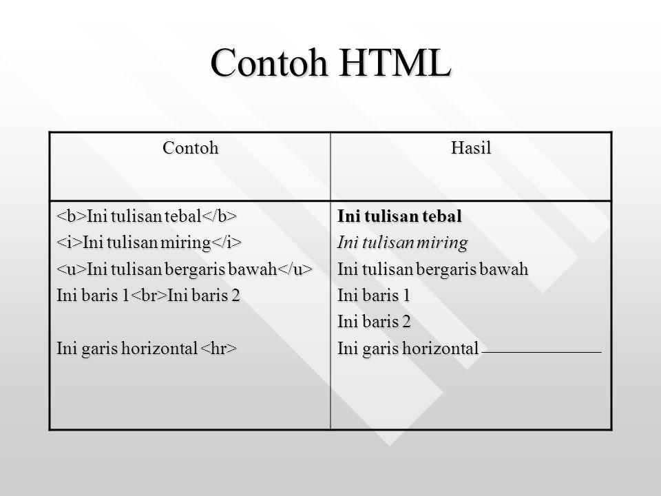 Contoh HTML ContohHasil Ini tulisan tebal Ini tulisan tebal Ini tulisan miring Ini tulisan miring Ini tulisan bergaris bawah Ini tulisan bergaris bawa