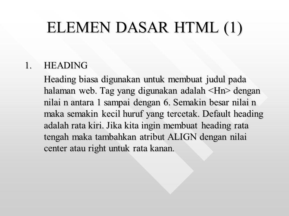ELEMEN DASAR HTML (1) 1.HEADING Heading biasa digunakan untuk membuat judul pada halaman web. Tag yang digunakan adalah dengan nilai n antara 1 sampai