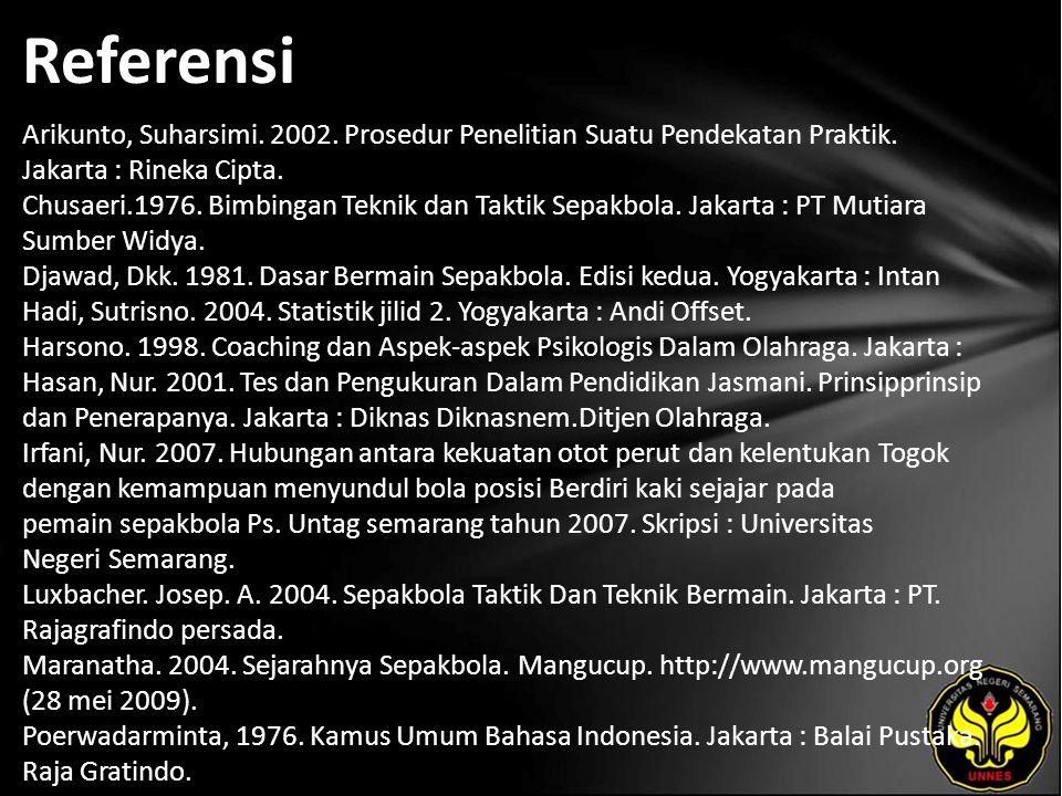 Referensi Arikunto, Suharsimi. 2002. Prosedur Penelitian Suatu Pendekatan Praktik. Jakarta : Rineka Cipta. Chusaeri.1976. Bimbingan Teknik dan Taktik