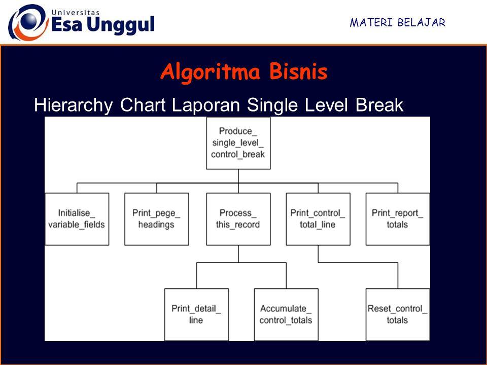 MATERI BELAJAR Algoritma Bisnis Hierarchy Chart Laporan Single Level Break