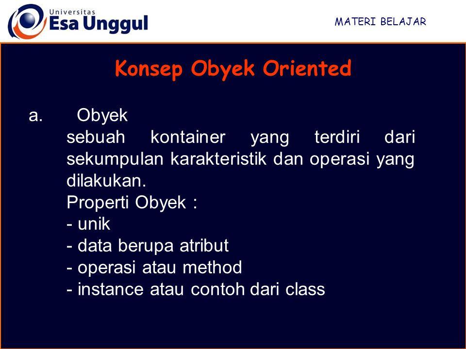MATERI BELAJAR Konsep Obyek Oriented a. Obyek sebuah kontainer yang terdiri dari sekumpulan karakteristik dan operasi yang dilakukan. Properti Obyek :