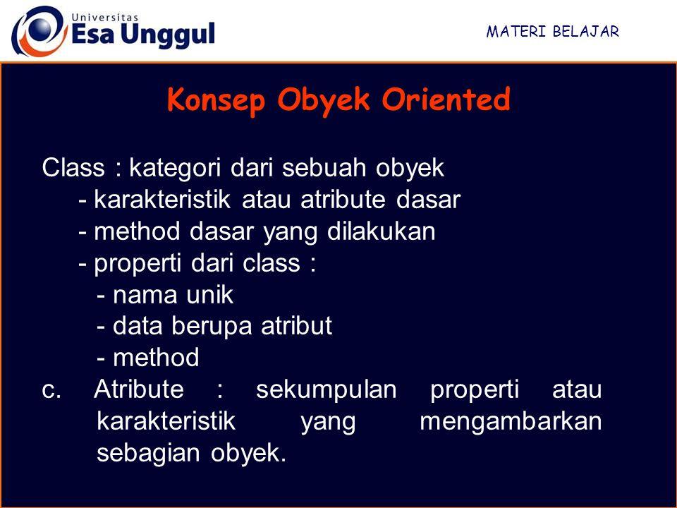 MATERI BELAJAR Konsep Obyek Oriented Class : kategori dari sebuah obyek - karakteristik atau atribute dasar - method dasar yang dilakukan - properti d
