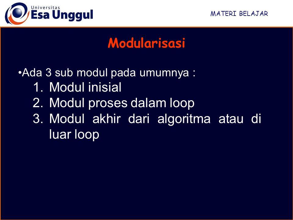 MATERI BELAJAR Modularisasi Ada 3 sub modul pada umumnya : 1.Modul inisial 2.Modul proses dalam loop 3.Modul akhir dari algoritma atau di luar loop