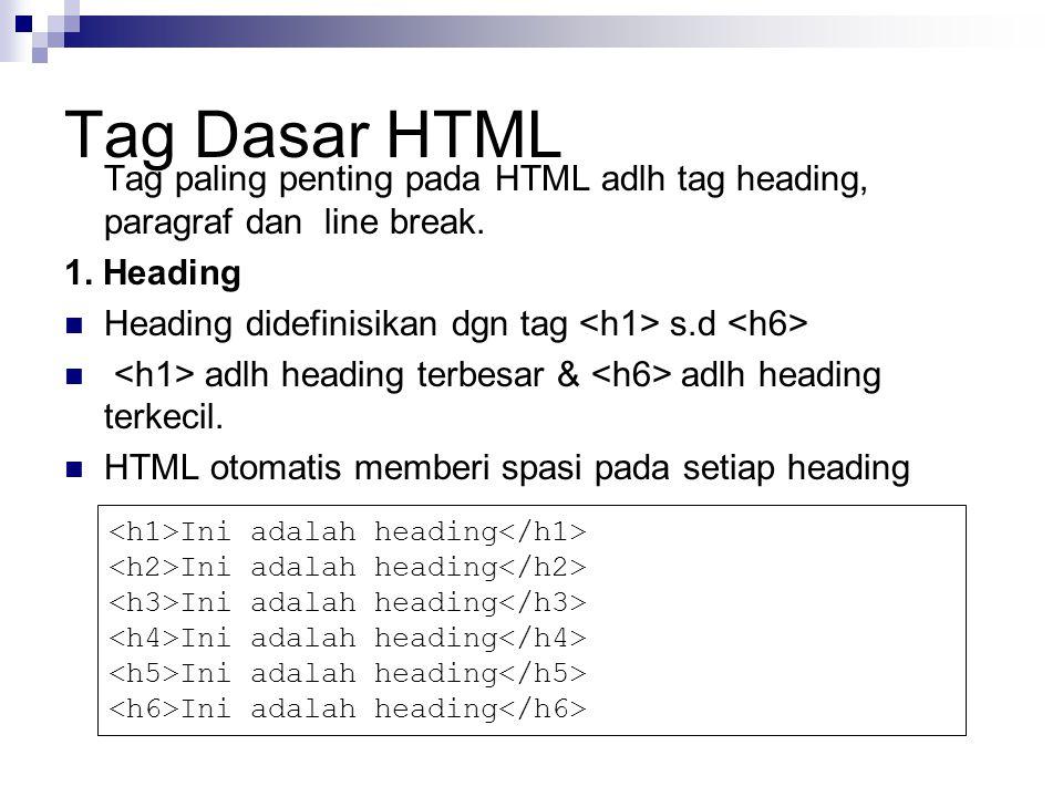 Tag Dasar HTML Tag paling penting pada HTML adlh tag heading, paragraf dan line break. 1. Heading Heading didefinisikan dgn tag s.d adlh heading terbe