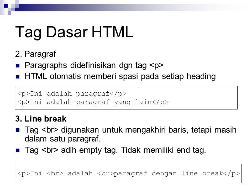 Tag Dasar HTML 2. Paragraf Paragraphs didefinisikan dgn tag HTML otomatis memberi spasi pada setiap heading 3. Line break Tag digunakan untuk mengakhi