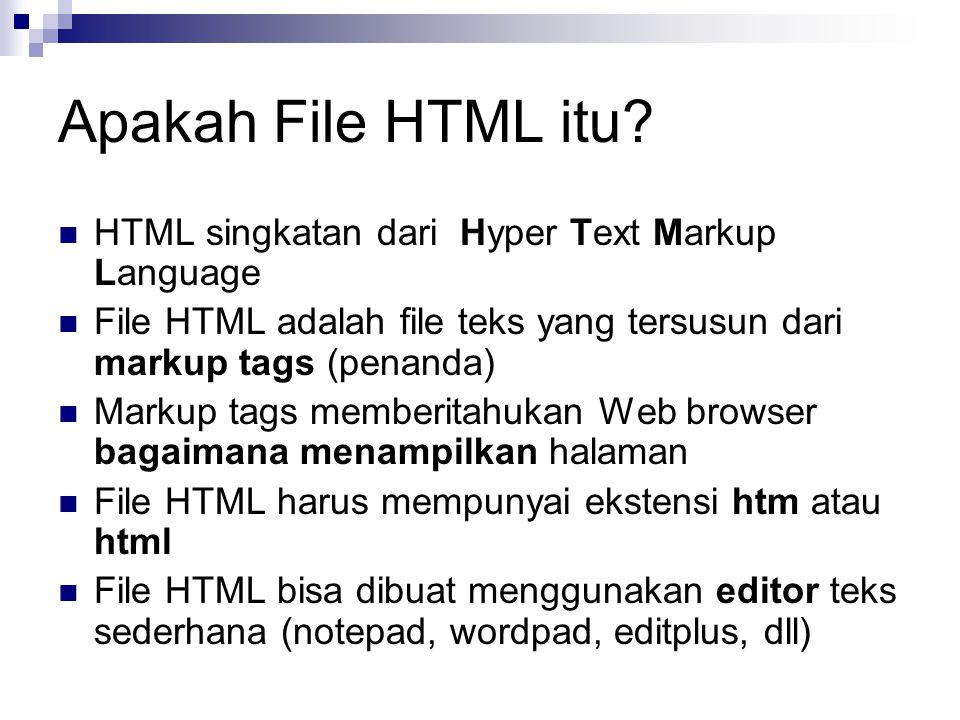 Apakah File HTML itu? HTML singkatan dari Hyper Text Markup Language File HTML adalah file teks yang tersusun dari markup tags (penanda) Markup tags m