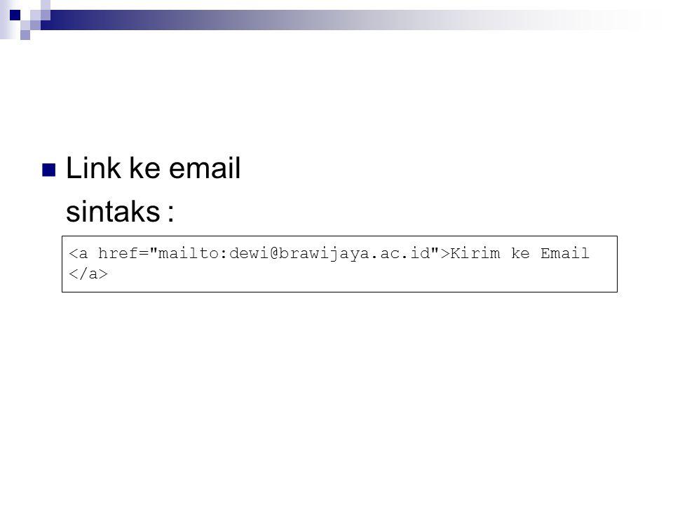 Link ke email sintaks : Kirim ke Email