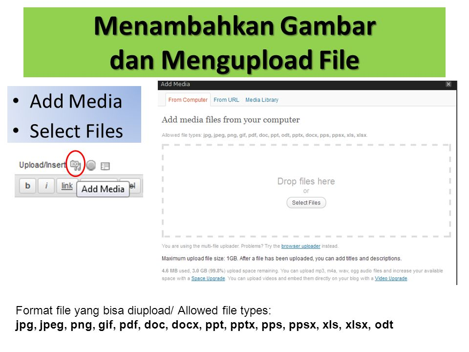 Menambahkan Gambar dan Mengupload File Add Media Select Files Format file yang bisa diupload/ Allowed file types: jpg, jpeg, png, gif, pdf, doc, docx, ppt, pptx, pps, ppsx, xls, xlsx, odt