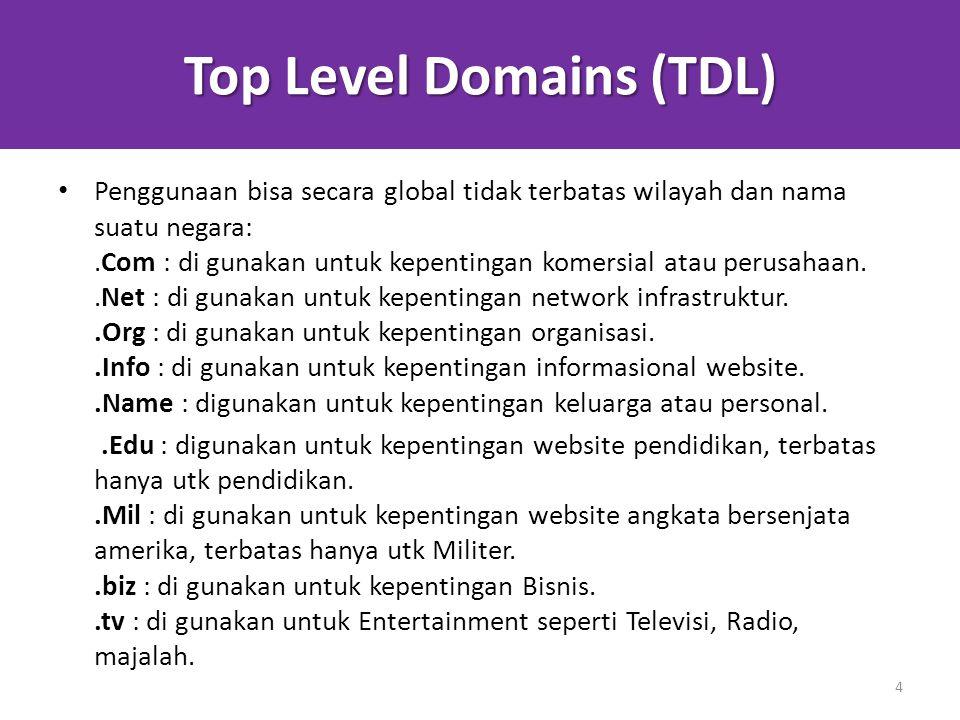 Top Level Domains (TDL) Penggunaan bisa secara global tidak terbatas wilayah dan nama suatu negara:.Com : di gunakan untuk kepentingan komersial atau perusahaan..Net : di gunakan untuk kepentingan network infrastruktur..Org : di gunakan untuk kepentingan organisasi..Info : di gunakan untuk kepentingan informasional website..Name : digunakan untuk kepentingan keluarga atau personal..Edu : digunakan untuk kepentingan website pendidikan, terbatas hanya utk pendidikan..Mil : di gunakan untuk kepentingan website angkata bersenjata amerika, terbatas hanya utk Militer..biz : di gunakan untuk kepentingan Bisnis..tv : di gunakan untuk Entertainment seperti Televisi, Radio, majalah.