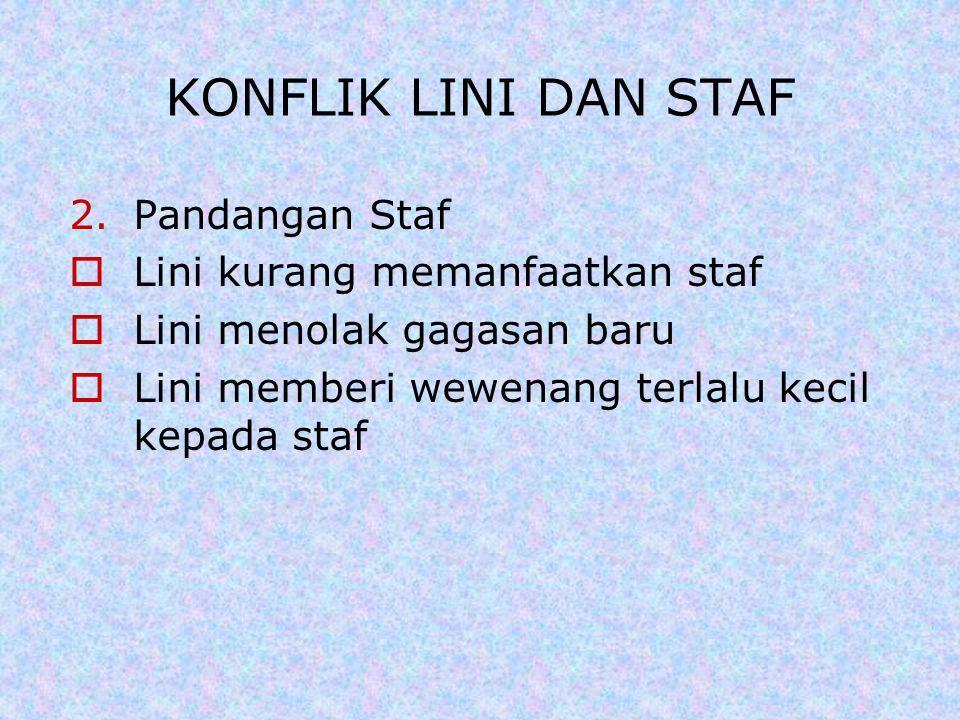 2.Pandangan Staf  Lini kurang memanfaatkan staf  Lini menolak gagasan baru  Lini memberi wewenang terlalu kecil kepada staf KONFLIK LINI DAN STAF
