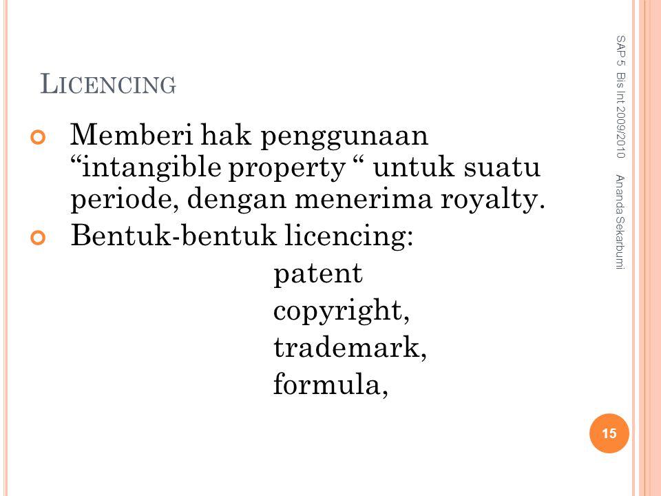 """L ICENCING Memberi hak penggunaan """"intangible property """" untuk suatu periode, dengan menerima royalty. Bentuk-bentuk licencing: patent copyright, trad"""