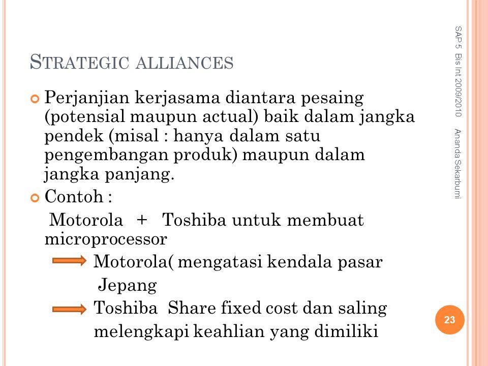 S TRATEGIC ALLIANCES Perjanjian kerjasama diantara pesaing (potensial maupun actual) baik dalam jangka pendek (misal : hanya dalam satu pengembangan p