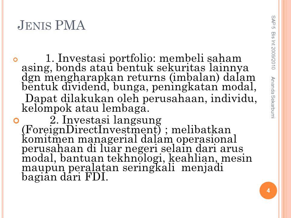 J ENIS PMA 1. Investasi portfolio: membeli saham asing, bonds atau bentuk sekuritas lainnya dgn mengharapkan returns (imbalan) dalam bentuk dividend,