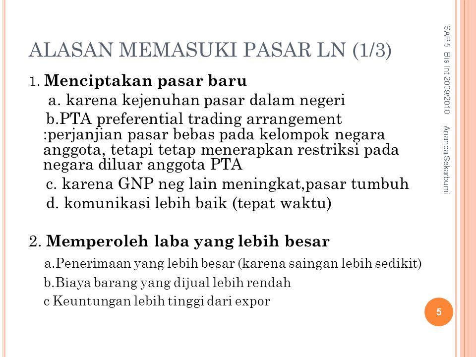 ALASAN MEMASUKI PASAR LN (1/3) 1. Menciptakan pasar baru a. karena kejenuhan pasar dalam negeri b.PTA preferential trading arrangement :perjanjian pas