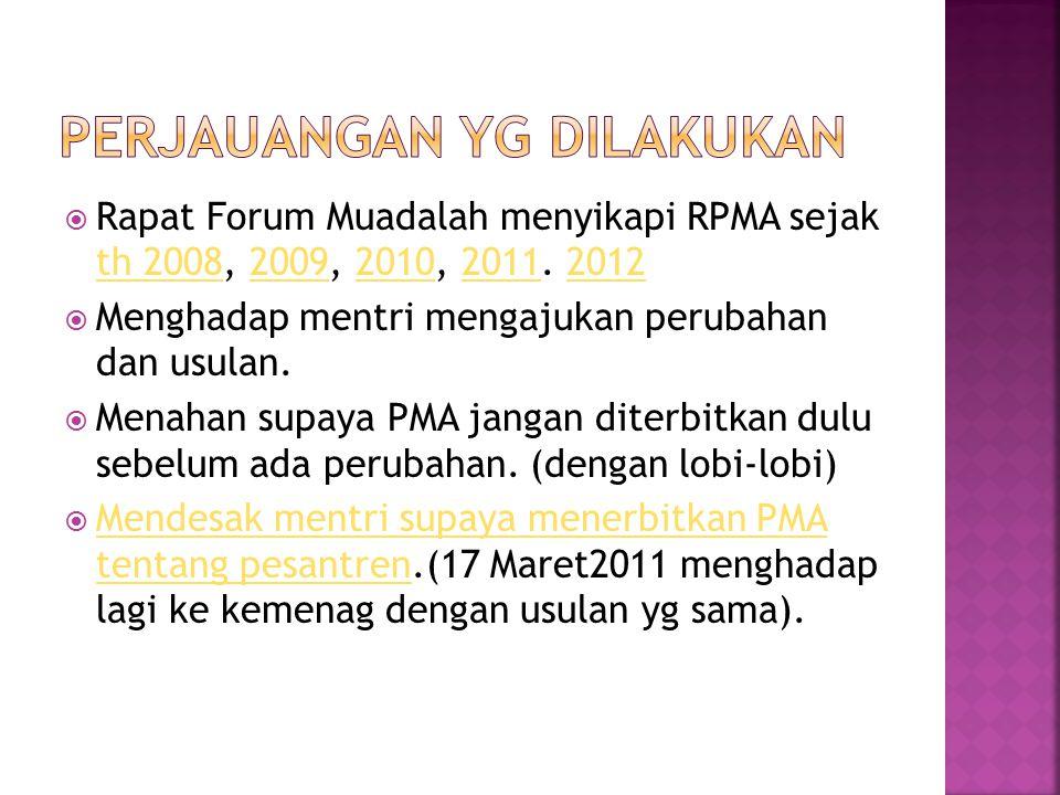  Rapat Forum Muadalah menyikapi RPMA sejak th 2008, 2009, 2010, 2011. 2012 th 20082009201020112012  Menghadap mentri mengajukan perubahan dan usulan