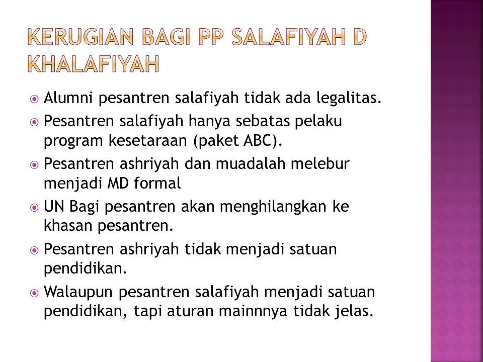  Alumni pesantren salafiyah tidak ada legalitas.  Pesantren salafiyah hanya sebatas pelaku program kesetaraan (paket ABC).  Pesantren ashriyah dan