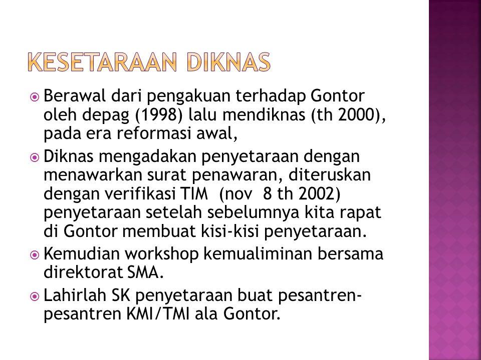  Berawal dari pengakuan terhadap Gontor oleh depag (1998) lalu mendiknas (th 2000), pada era reformasi awal,  Diknas mengadakan penyetaraan dengan m