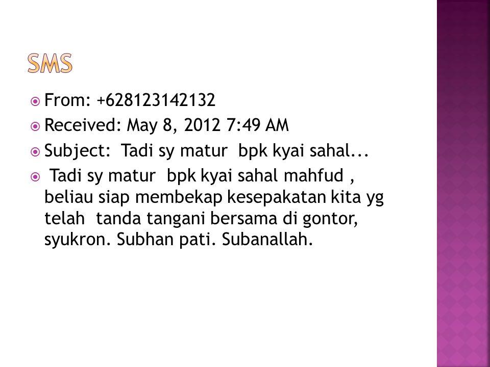  From: +628123142132  Received: May 8, 2012 7:49 AM  Subject: Tadi sy matur bpk kyai sahal...