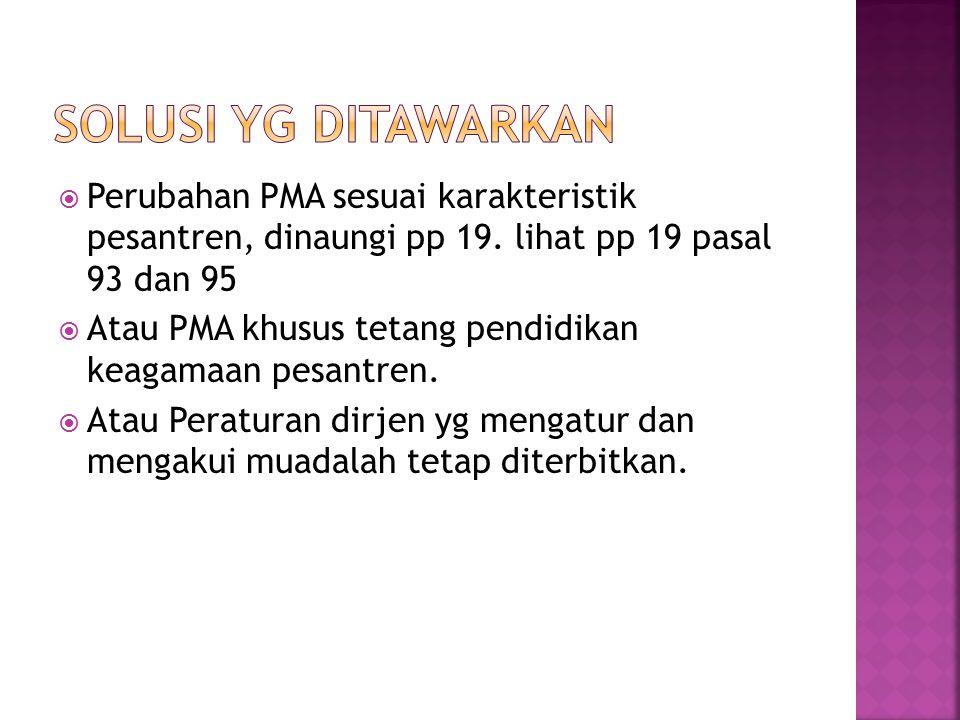  Perubahan PMA sesuai karakteristik pesantren, dinaungi pp 19. lihat pp 19 pasal 93 dan 95  Atau PMA khusus tetang pendidikan keagamaan pesantren. 