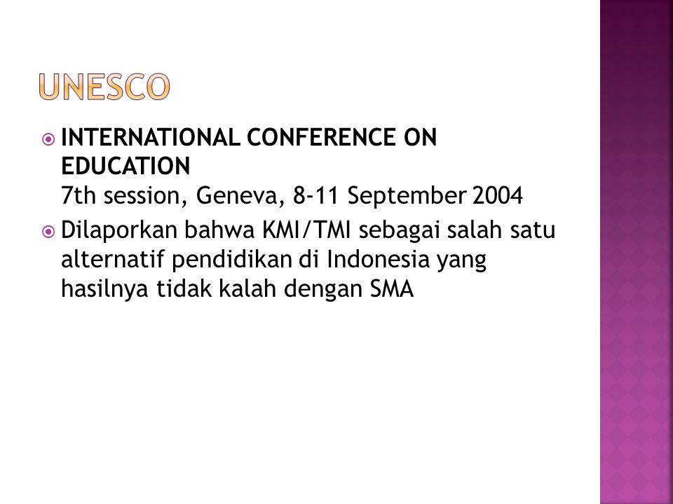  INTERNATIONAL CONFERENCE ON EDUCATION 7th session, Geneva, 8-11 September 2004  Dilaporkan bahwa KMI/TMI sebagai salah satu alternatif pendidikan d