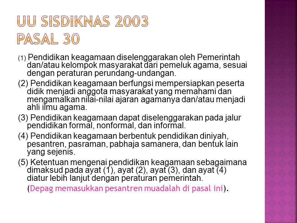  Pendidikan Keagamaan Islam Pasal 14 (1) Pendidikan keagamaan Islam berbentuk pendidikan diniyah dan pesantren.