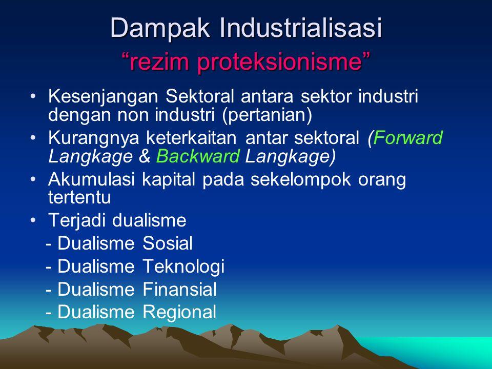 """Dampak Industrialisasi """"rezim proteksionisme"""" Kesenjangan Sektoral antara sektor industri dengan non industri (pertanian) Kurangnya keterkaitan antar"""