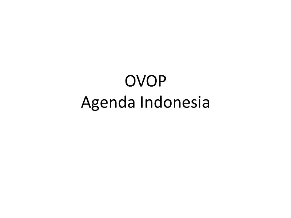 OVOP Agenda Indonesia