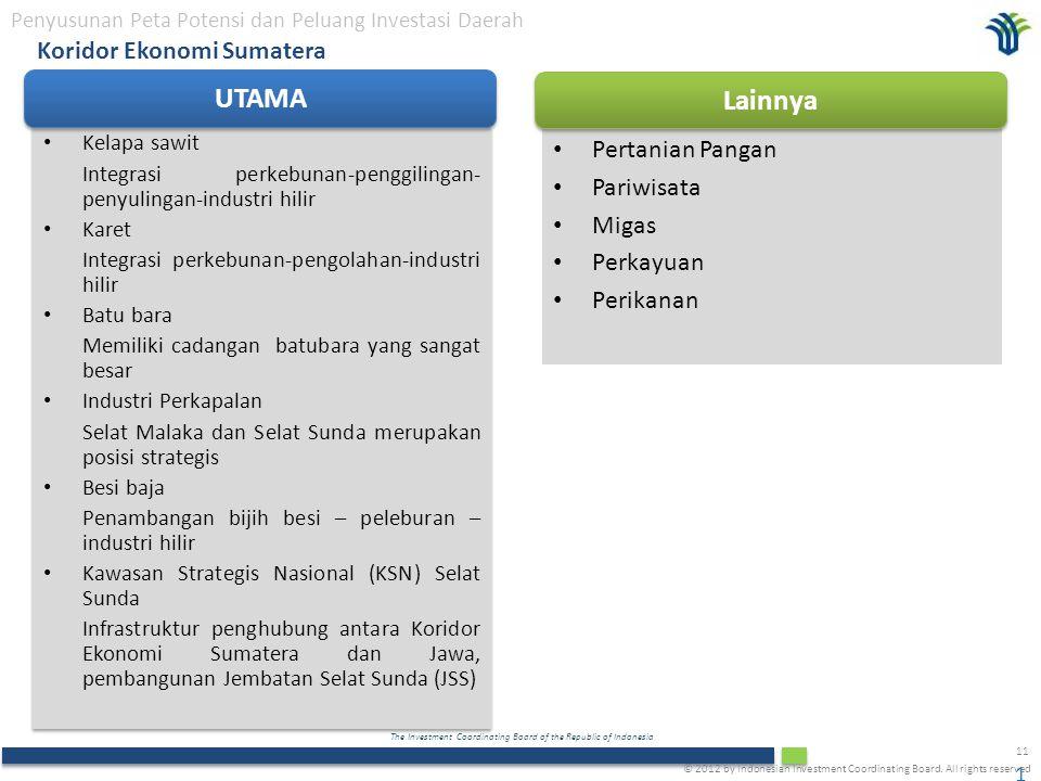 The Investment Coordinating Board of the Republic of Indonesia 11 Koridor Ekonomi Sumatera Penyusunan Peta Potensi dan Peluang Investasi Daerah Kelapa sawit Integrasi perkebunan-penggilingan- penyulingan-industri hilir Karet Integrasi perkebunan-pengolahan-industri hilir Batu bara Memiliki cadangan batubara yang sangat besar Industri Perkapalan Selat Malaka dan Selat Sunda merupakan posisi strategis Besi baja Penambangan bijih besi – peleburan – industri hilir Kawasan Strategis Nasional (KSN) Selat Sunda Infrastruktur penghubung antara Koridor Ekonomi Sumatera dan Jawa, pembangunan Jembatan Selat Sunda (JSS) Kelapa sawit Integrasi perkebunan-penggilingan- penyulingan-industri hilir Karet Integrasi perkebunan-pengolahan-industri hilir Batu bara Memiliki cadangan batubara yang sangat besar Industri Perkapalan Selat Malaka dan Selat Sunda merupakan posisi strategis Besi baja Penambangan bijih besi – peleburan – industri hilir Kawasan Strategis Nasional (KSN) Selat Sunda Infrastruktur penghubung antara Koridor Ekonomi Sumatera dan Jawa, pembangunan Jembatan Selat Sunda (JSS) 11 Pertanian Pangan Pariwisata Migas Perkayuan Perikanan UTAMA Lainnya © 2012 by Indonesian Investment Coordinating Board.
