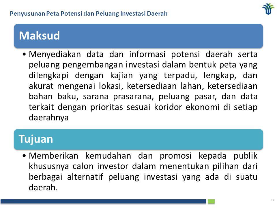 The Investment Coordinating Board of the Republic of Indonesia 13 Maksud Menyediakan data dan informasi potensi daerah serta peluang pengembangan inve