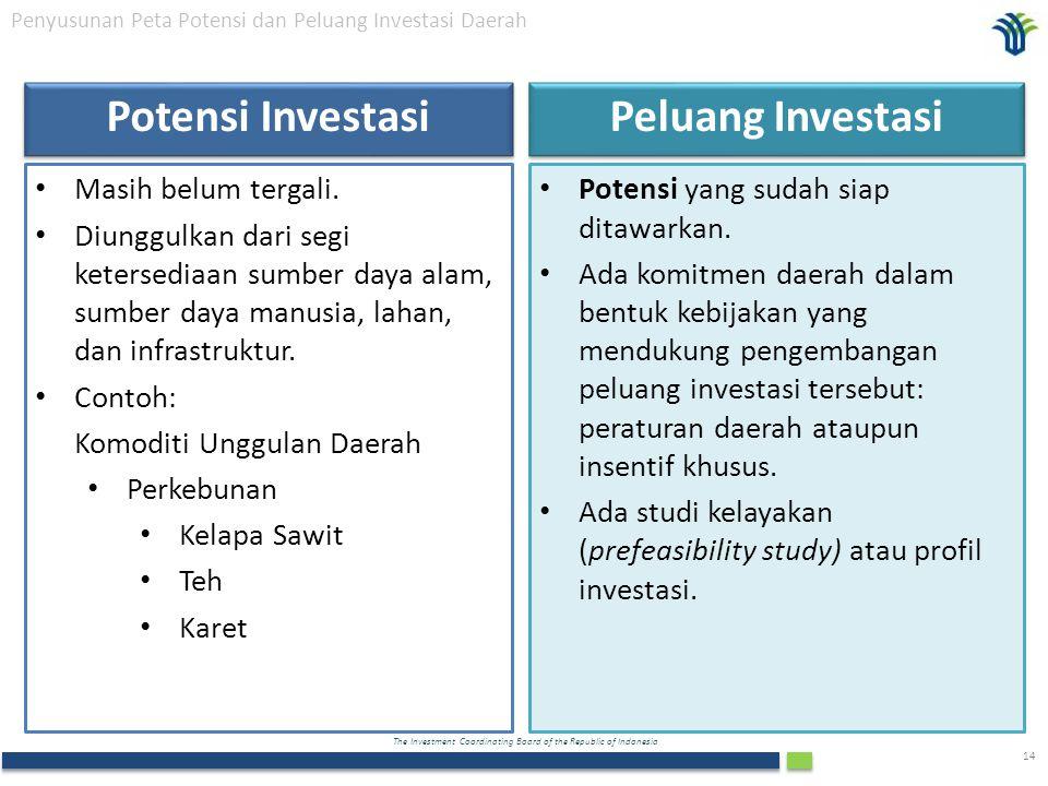 The Investment Coordinating Board of the Republic of Indonesia 14 Penyusunan Peta Potensi dan Peluang Investasi Daerah Potensi Investasi Masih belum t
