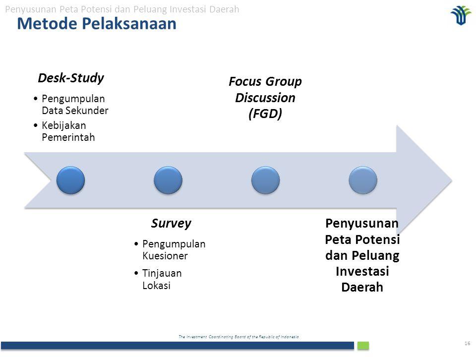 The Investment Coordinating Board of the Republic of Indonesia 16 Metode Pelaksanaan Penyusunan Peta Potensi dan Peluang Investasi Daerah Desk-Study P