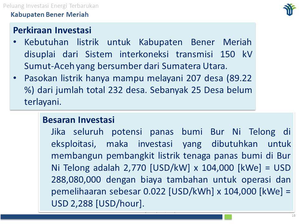 The Investment Coordinating Board of the Republic of Indonesia 18 Peluang Investasi Energi Terbarukan Kabupaten Bener Meriah Perkiraan Investasi Kebutuhan listrik untuk Kabupaten Bener Meriah disuplai dari Sistem interkoneksi transmisi 150 kV Sumut-Aceh yang bersumber dari Sumatera Utara.