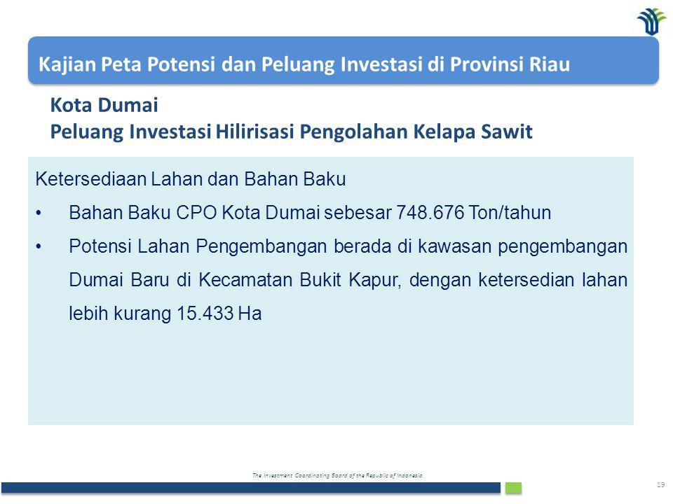 The Investment Coordinating Board of the Republic of Indonesia 19 Kota Dumai Peluang Investasi Hilirisasi Pengolahan Kelapa Sawit Ketersediaan Lahan d