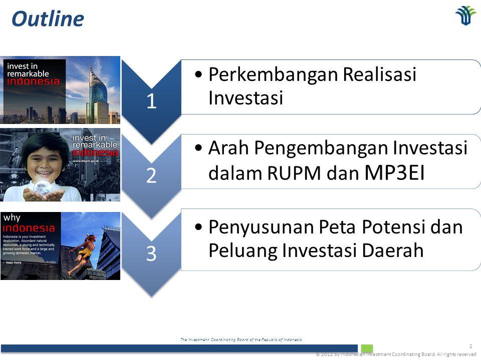 The Investment Coordinating Board of the Republic of Indonesia 2 Outline 1 Perkembangan Realisasi Investasi 2 Arah Pengembangan Investasi dalam RUPM d