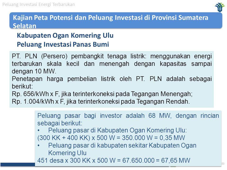 The Investment Coordinating Board of the Republic of Indonesia 21 Kabupaten Ogan Komering Ulu Peluang Investasi Panas Bumi Peluang Investasi Energi Terbarukan PT.