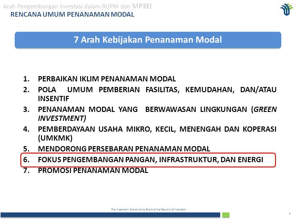 The Investment Coordinating Board of the Republic of Indonesia 6 RENCANA UMUM PENANAMAN MODAL 7 Arah Kebijakan Penanaman Modal 1.PERBAIKAN IKLIM PENAN