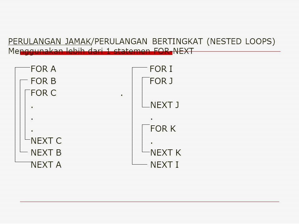 PERULANGAN JAMAK/PERULANGAN BERTINGKAT (NESTED LOOPS) Menggunakan lebih dari 1 statemen FOR-NEXT FOR A FOR I FOR B FOR J FOR C..NEXT J..FOR K NEXT C.