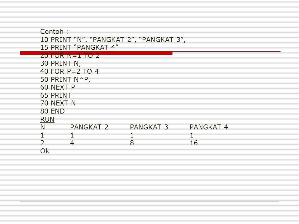 Contoh : 10 PRINT N , PANGKAT 2 , PANGKAT 3 , 15 PRINT PANGKAT 4 20 FOR N=1 TO 2 30 PRINT N, 40 FOR P=2 TO 4 50 PRINT N^P, 60 NEXT P 65 PRINT 70 NEXT N 80 END RUN NPANGKAT 2PANGKAT 3PANGKAT 4 1111 24816 Ok