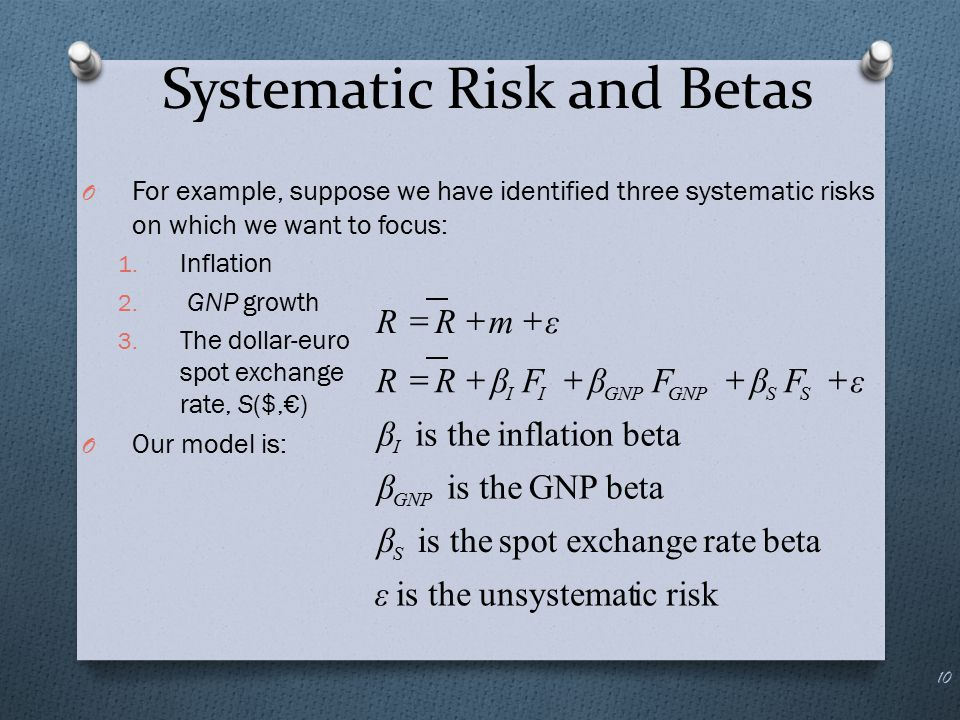 Systematic Risk and Betas O For example, suppose we have identified three systematic risks on which we want to focus: 1. Inflation 2. GNP growth 3. Th