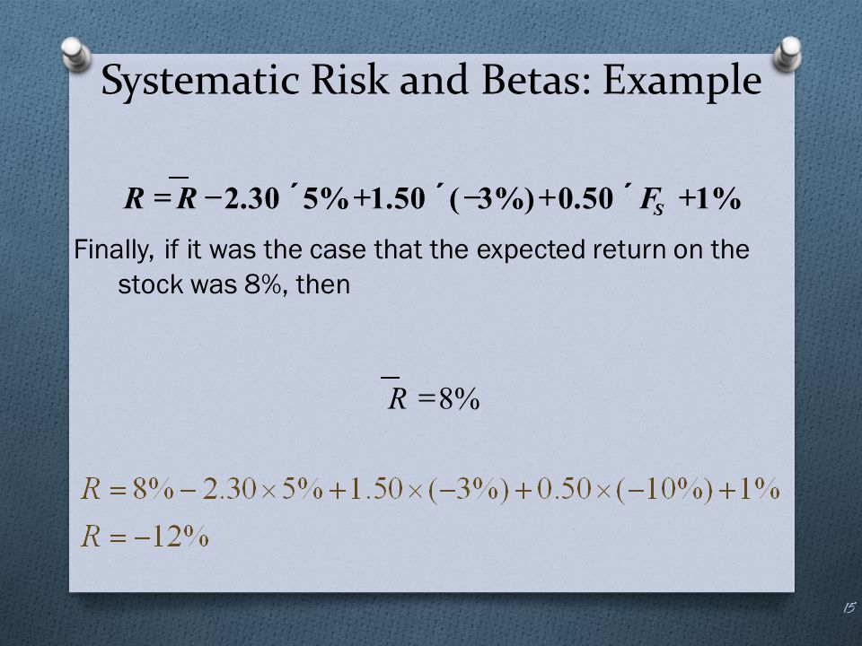Systematic Risk and Betas: Example Finally, if it was the case that the expected return on the stock was 8%, then 15 %150.0%)3(50.1%530.2  S
