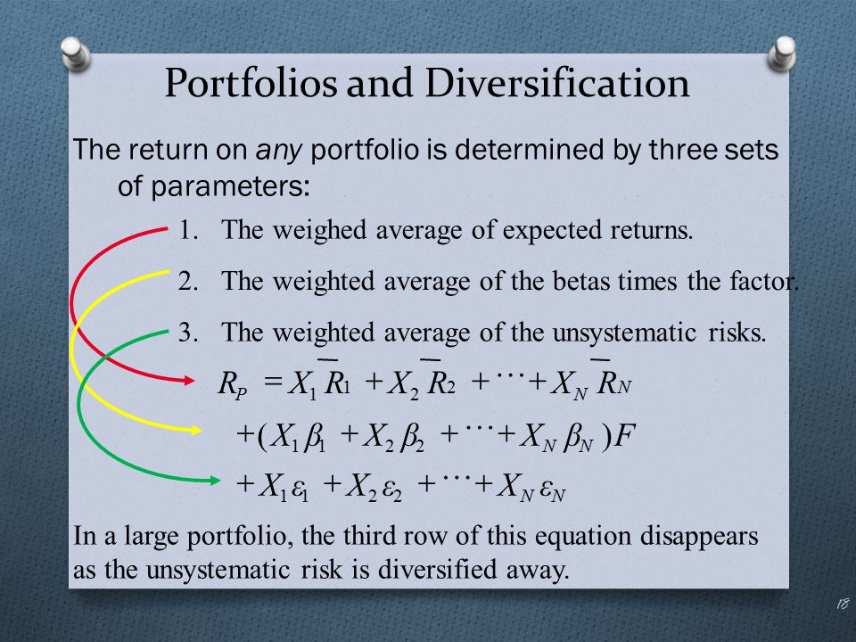 Portfolios and Diversification The return on any portfolio is determined by three sets of parameters: 18 In a large portfolio, the third row of this e