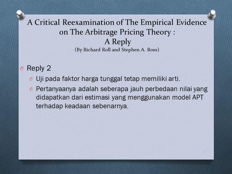 O Reply 2 O Uji pada faktor harga tunggal tetap memiliki arti. O Pertanyaanya adalah seberapa jauh perbedaan nilai yang didapatkan dari estimasi yang