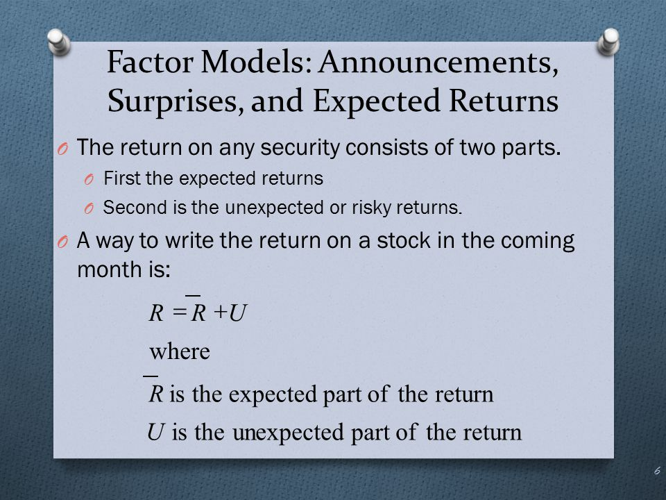 Portfolios and Diversification O We know that the portfolio return is the weighted average of the returns on the individual assets in the portfolio: 17 NNiiP RXRXRXRXR   2211 )( )()( 22 2 211 1 1 NN N N P εFβRX εFβRXεFβRXR    NNNN N N P εXFβXRX εXFβXRXεXFβXRXR    2222 2 21111 1 1 ii i i εFβRR 