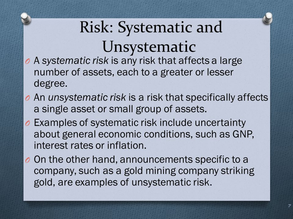Risk: Systematic and Unsystematic 8 Systematic Risk; m Nonsystematic Risk;  n  Total risk; U We can break down the risk, U, of holding a stock into two components: systematic risk and unsystematic risk: risk unsystematic theis risk systematic theis where becomes ε m εmRR URR   