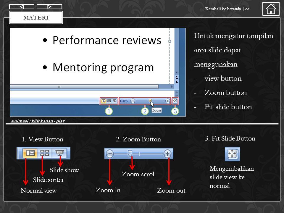 Materi Kembali ke beranda ||>> MATERI Untuk mengatur tampilan area slide dapat menggunakan -view button -Zoom button -Fit slide button Animasi : klik