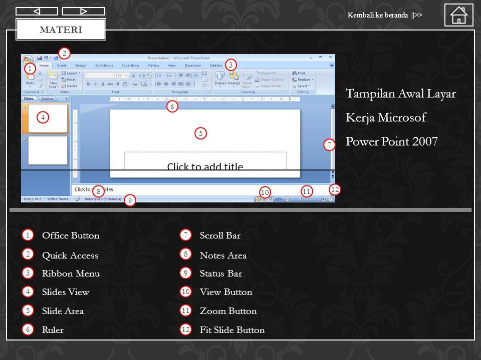 Materi Kembali ke beranda   >> MATERI Office Button Memiliki fungsi yang hampir sama dengan menu file pada versi power point sebelumnya.