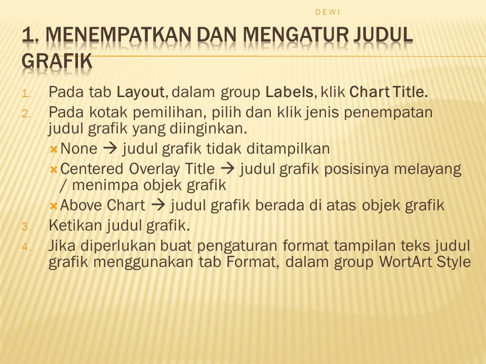 1. Pada tab Layout, dalam group Labels, klik Chart Title.