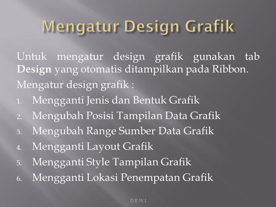 Untuk mengatur design grafik gunakan tab Design yang otomatis ditampilkan pada Ribbon.